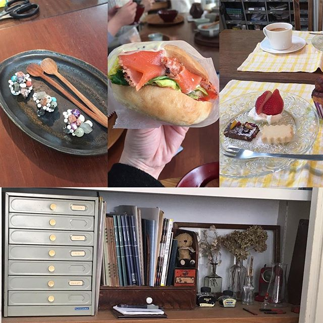 ワークの後はクラスカフェさんの手作りランチ&スイーツです。お料理・器・家具やディスプレイ、どこを切り取っても絵になる空間にウットリ…たまらんです︎ #クラスカフェ #ワークショップ #horieee